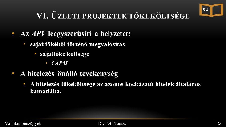 Dr. Tóth Tamás Vállalati pénzügyek 3 Az APV leegyszerűsíti a helyzetet: saját tőkéből történő megvalósítás sajáttőke költsége CAPM A hitelezés önálló