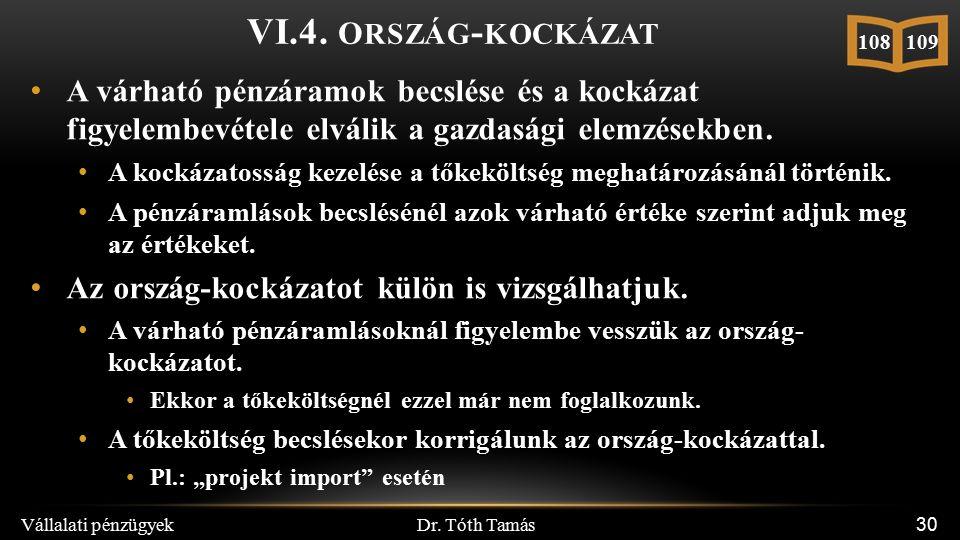 Dr. Tóth Tamás Vállalati pénzügyek 30 VI.4.