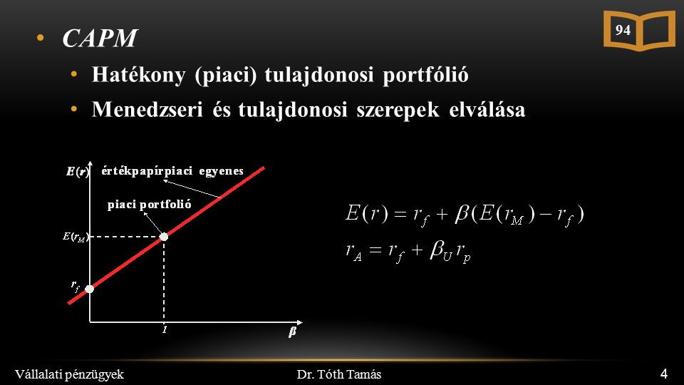 Dr. Tóth Tamás Vállalati pénzügyek 4 CAPM Hatékony (piaci) tulajdonosi portfólió Menedzseri és tulajdonosi szerepek elválása 94