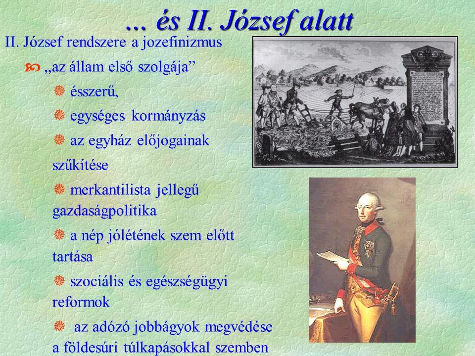 """II. József rendszere a jozefinizmus  """"az állam első szolgája""""  ésszerű,  egységes kormányzás  az egyház előjogainak szűkítése  merkantilista jell"""