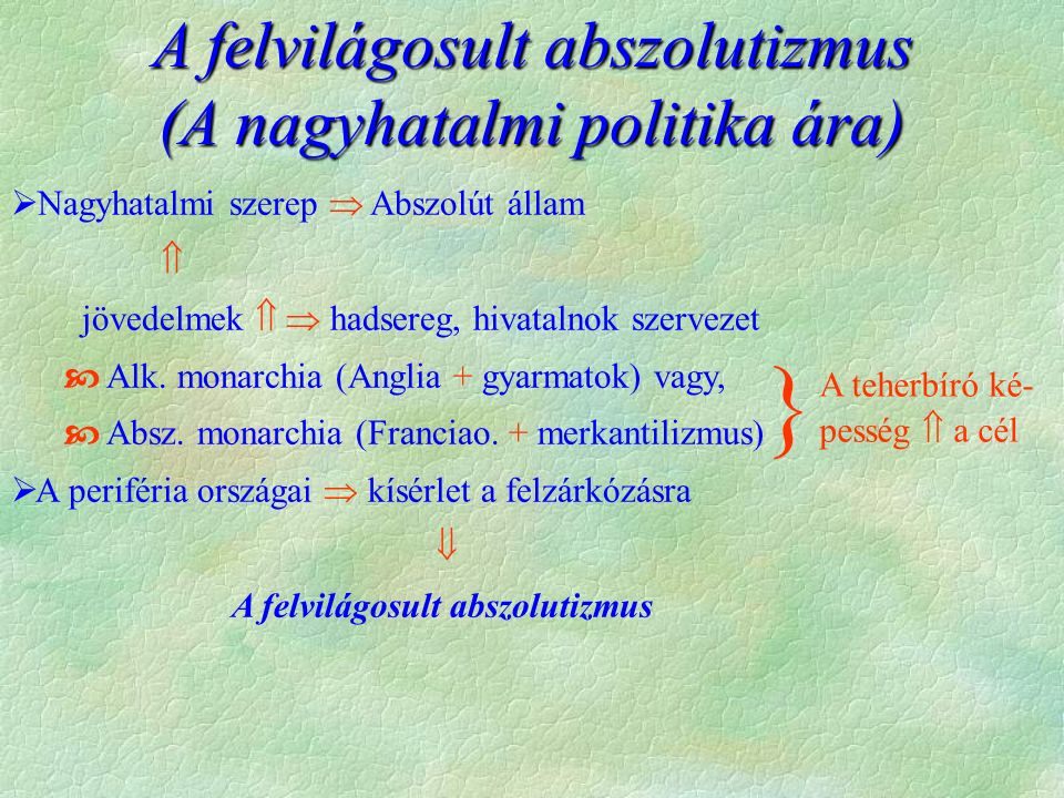 Felvilágosult abszolutizmus a Habsburg Birodalomban  A francia felvilágosodás szelleme, de a cél, egy centralizált birodalom  államtanács létrehozása (1761) tisztségviselők (Kaunitz, Van Swieten)  intézkedések  1754 kettős vámrendeletet  1767 Urbárium  1777 Ratio Educationist  Nemesség, papság adóztatása  Állandó hadsereg  Állami manufaktúrák Anton von Kaunitz