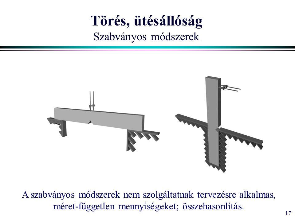 17 Törés, ütésállóság Szabványos módszerek A szabványos módszerek nem szolgáltatnak tervezésre alkalmas, méret-független mennyiségeket; összehasonlítás.