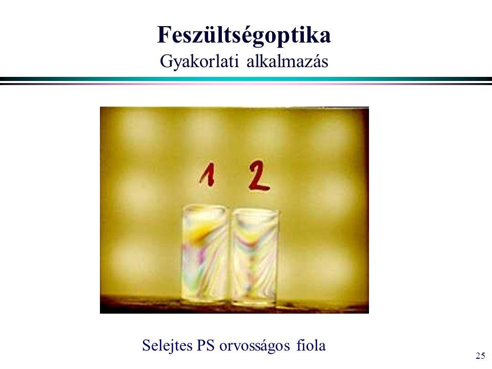 25 Feszültségoptika Gyakorlati alkalmazás Selejtes PS orvosságos fiola