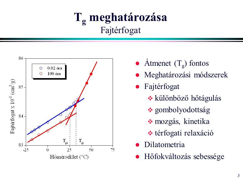 3 T g meghatározása Fajtérfogat l Átmenet (T g ) fontos l Meghatározási módszerek l Fajtérfogat  különböző hőtágulás  gombolyodottság  mozgás, kinetika  térfogati relaxáció l Dilatometria l Hőfokváltozás sebessége
