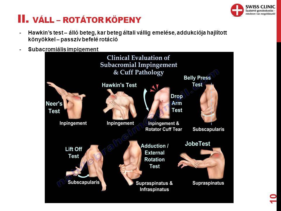 II. VÁLL – ROTÁTOR KÖPENY 10 -Hawkin's test – álló beteg, kar beteg általi vállig emelése, addukciója hajlított könyökkel – passzív befelé rotáció -Su