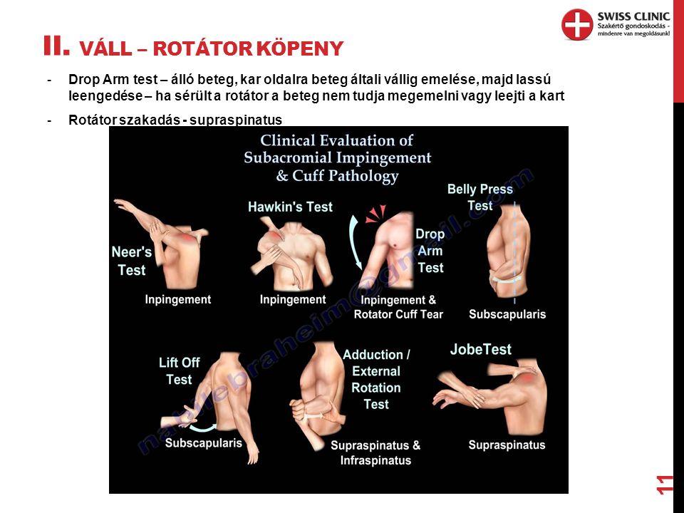 II. VÁLL – ROTÁTOR KÖPENY 11 -Drop Arm test – álló beteg, kar oldalra beteg általi vállig emelése, majd lassú leengedése – ha sérült a rotátor a beteg