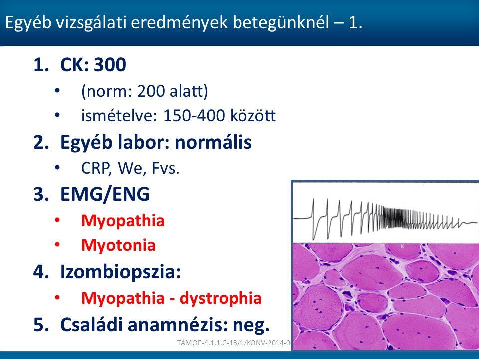 Egyéb vizsgálati eredmények betegünknél – 1. 1.CK: 300 (norm: 200 alatt) ismételve: 150-400 között 2.Egyéb labor: normális CRP, We, Fvs. 3.EMG/ENG Myo