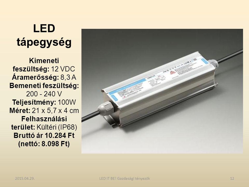 LED tápegység Kimeneti feszültség: 12 VDC Áramerősség: 8,3 A Bemeneti feszültség: 200 - 240 V Teljesítmény: 100W Méret: 21 x 5,7 x 4 cm Felhasználási