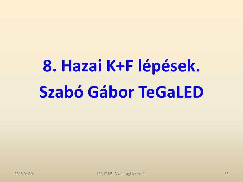 8. Hazai K+F lépések. Szabó Gábor TeGaLED 2015.04.29.13LED IT BE! Gazdasági tényezők