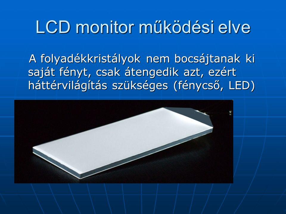 LCD monitor működési elve A folyadékkristályok nem bocsájtanak ki saját fényt, csak átengedik azt, ezért háttérvilágítás szükséges (fénycső, LED) A folyadékkristályok nem bocsájtanak ki saját fényt, csak átengedik azt, ezért háttérvilágítás szükséges (fénycső, LED)