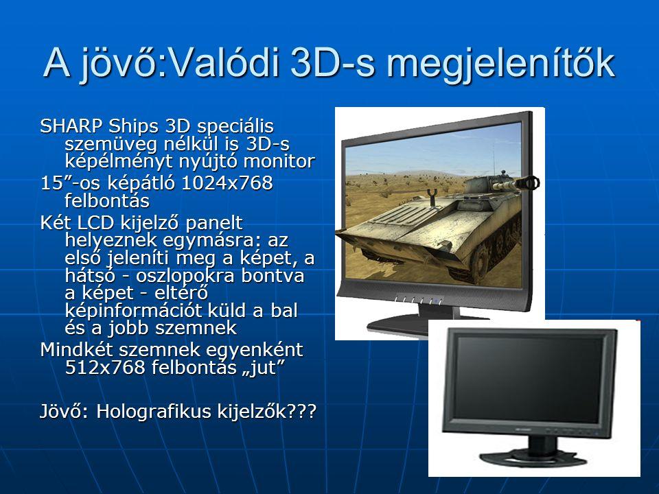 """A jövő:Valódi 3D-s megjelenítők SHARP Ships 3D speciális szemüveg nélkül is 3D-s képélményt nyújtó monitor 15 -os képátló 1024x768 felbontás Két LCD kijelző panelt helyeznek egymásra: az első jeleníti meg a képet, a hátsó - oszlopokra bontva a képet - eltérő képinformációt küld a bal és a jobb szemnek Mindkét szemnek egyenként 512x768 felbontás """"jut Jövő: Holografikus kijelzők"""
