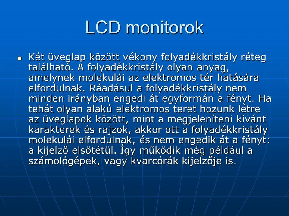 LCD monitorok Két üveglap között vékony folyadékkristály réteg található.