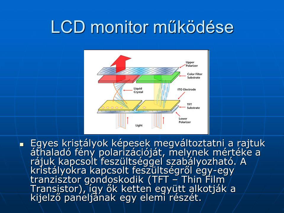 """A jövő:Valódi 3D-s megjelenítők SHARP Ships 3D speciális szemüveg nélkül is 3D-s képélményt nyújtó monitor 15 -os képátló 1024x768 felbontás Két LCD kijelző panelt helyeznek egymásra: az első jeleníti meg a képet, a hátsó - oszlopokra bontva a képet - eltérő képinformációt küld a bal és a jobb szemnek Mindkét szemnek egyenként 512x768 felbontás """"jut Jövő: Holografikus kijelzők???"""