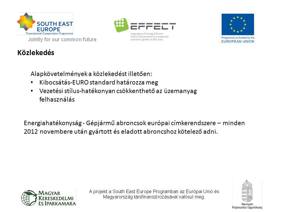 Közlekedés Alapkövetelmények a közlekedést illetően: Kibocsátás-EURO standard határozza meg Vezetési stílus-hatékonyan csökkenthető az üzemanyag felhasználás Energiahatékonyság - Gépjármű abroncsok európai címkerendszere – minden 2012 novembere után gyártott és eladott abroncshoz kötelező adni.