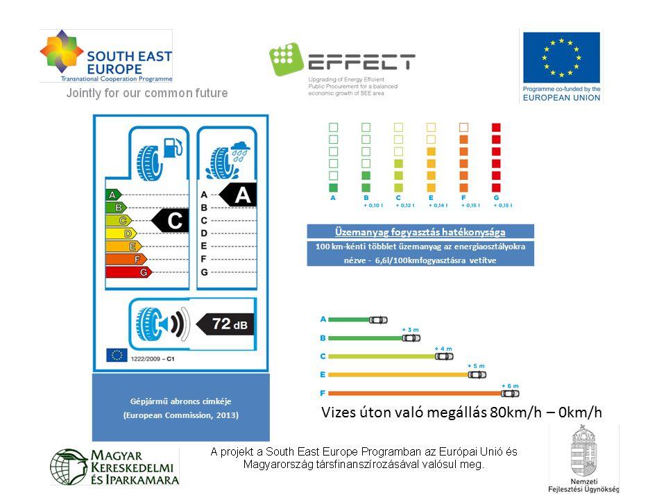 Gépjármű abroncs címkéje (European Commission, 2013) Üzemanyag fogyasztás hatékonysága 100 km-kénti többlet üzemanyag az energiaosztályokra nézve - 6,6l/100kmfogyasztásra vetítve Vizes úton való megállás 80km/h – 0km/h