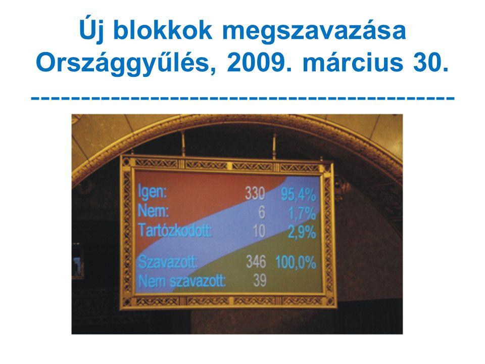 Új blokkok megszavazása Országgyűlés, 2009. március 30. -------------------------------------------