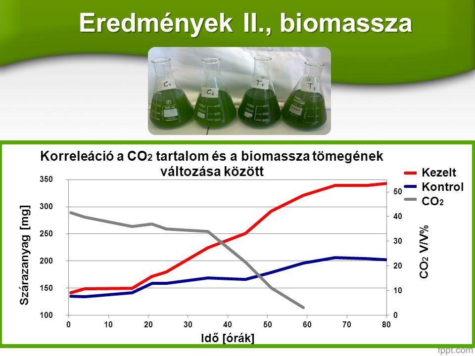 Eredmények II., biomassza l Kezelt Kontrol CO 2