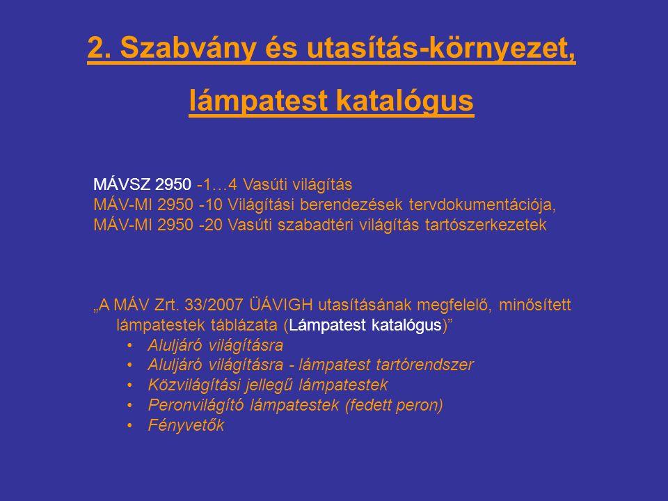 2. Szabvány és utasítás-környezet, lámpatest katalógus MÁVSZ 2950 -1…4 Vasúti világítás MÁV-MI 2950 -10 Világítási berendezések tervdokumentációja, MÁ