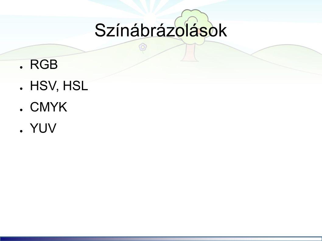Színábrázolások ● RGB ● HSV, HSL ● CMYK ● YUV