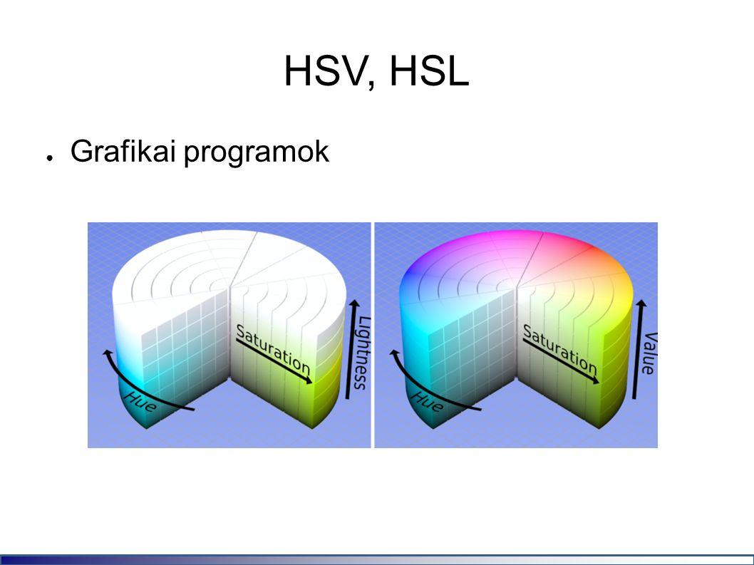HSV, HSL ● Grafikai programok