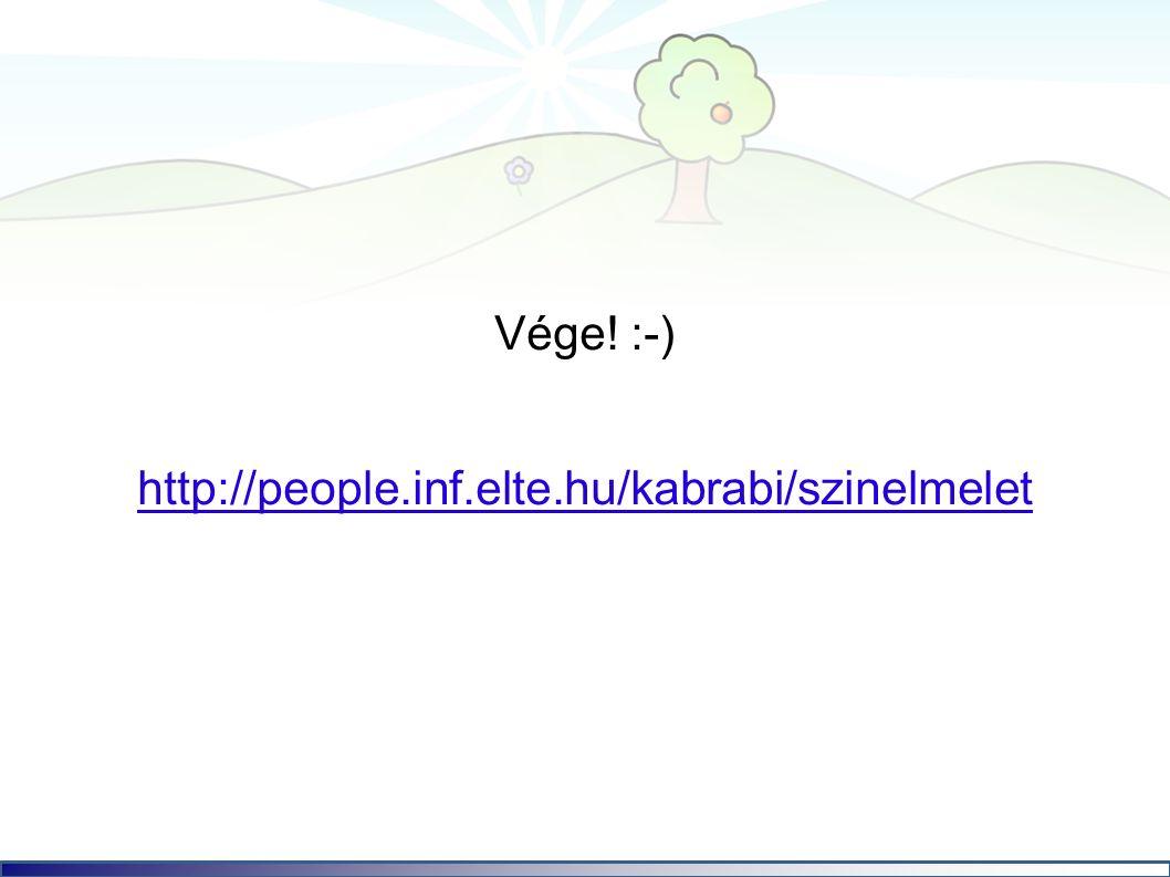 Vége! :-) http://people.inf.elte.hu/kabrabi/szinelmelet