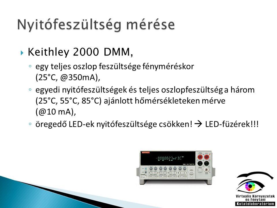  Keithley 2000 DMM, ◦ egy teljes oszlop feszültsége fényméréskor (25°C, @350mA), ◦ egyedi nyitófeszültségek és teljes oszlopfeszültség a három (25°C, 55°C, 85°C) ajánlott hőmérsékleteken mérve (@10 mA), ◦ öregedő LED-ek nyitófeszültsége csökken.
