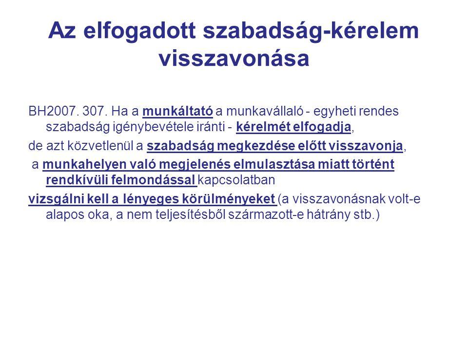 Az elfogadott szabadság-kérelem visszavonása BH2007.