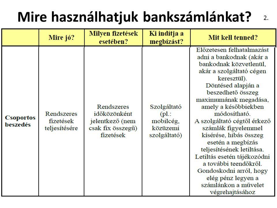 Mire használhatjuk bankszámlánkat 2.