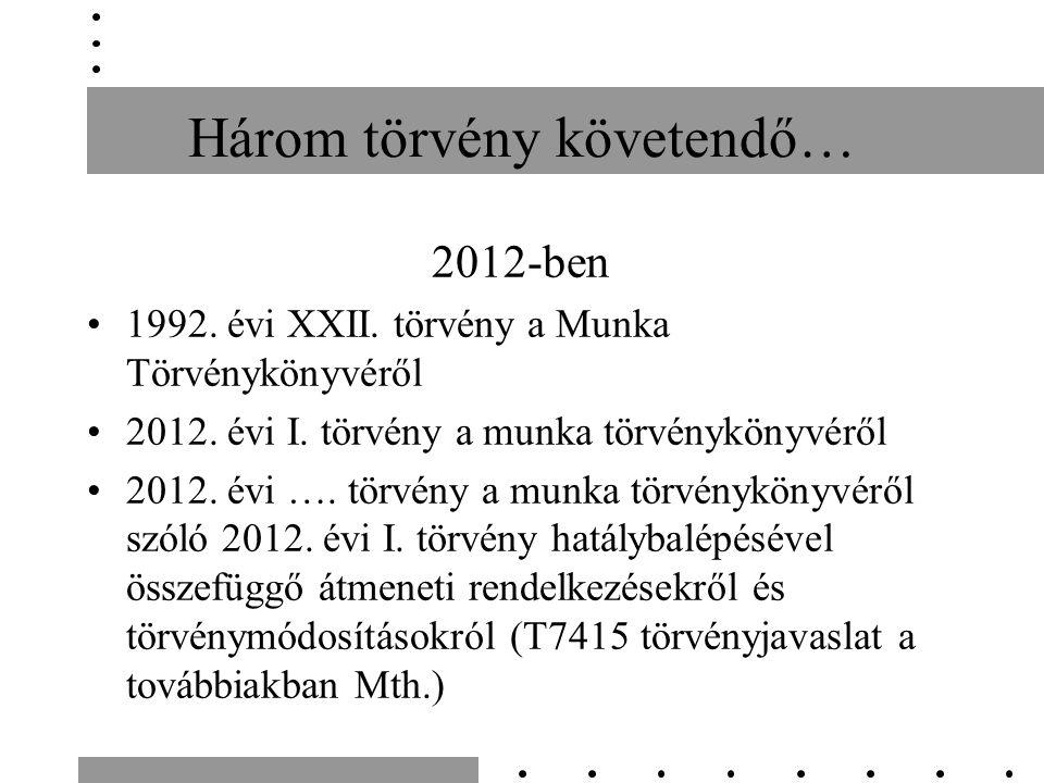 Három törvény követendő… 2012-ben 1992. évi XXII.