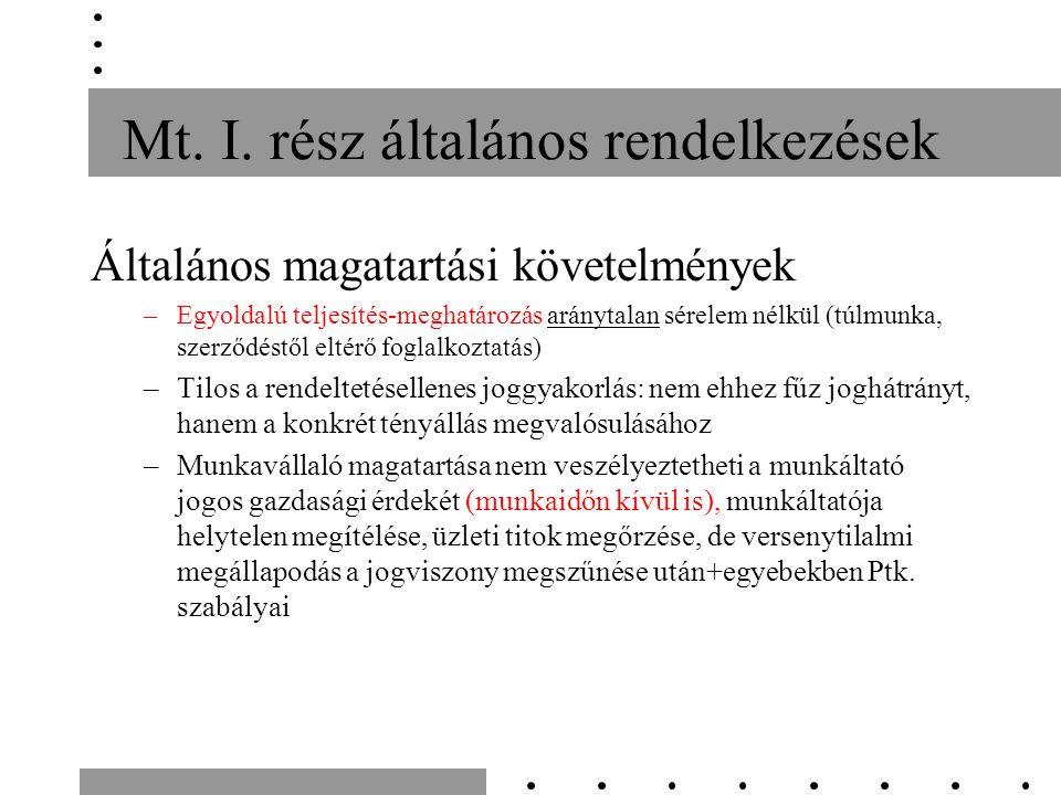 Záró rendelkezések Mth.18. §: az Mt. 295-297. § alkalmazhatósága: ha a 295.