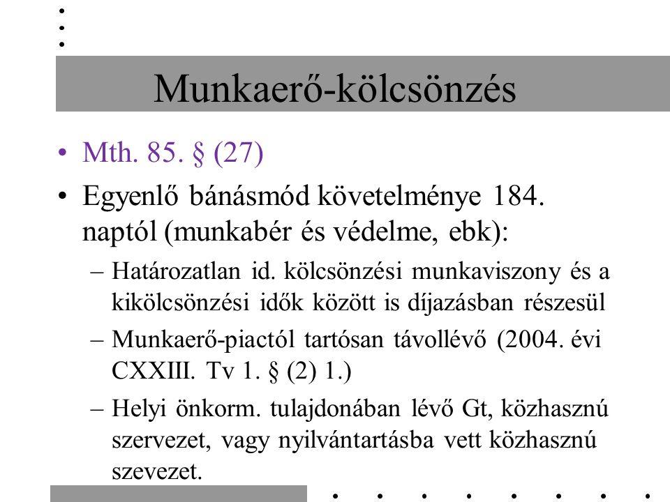 Munkaerő-kölcsönzés Mth. 85. § (27) Egyenlő bánásmód követelménye 184.