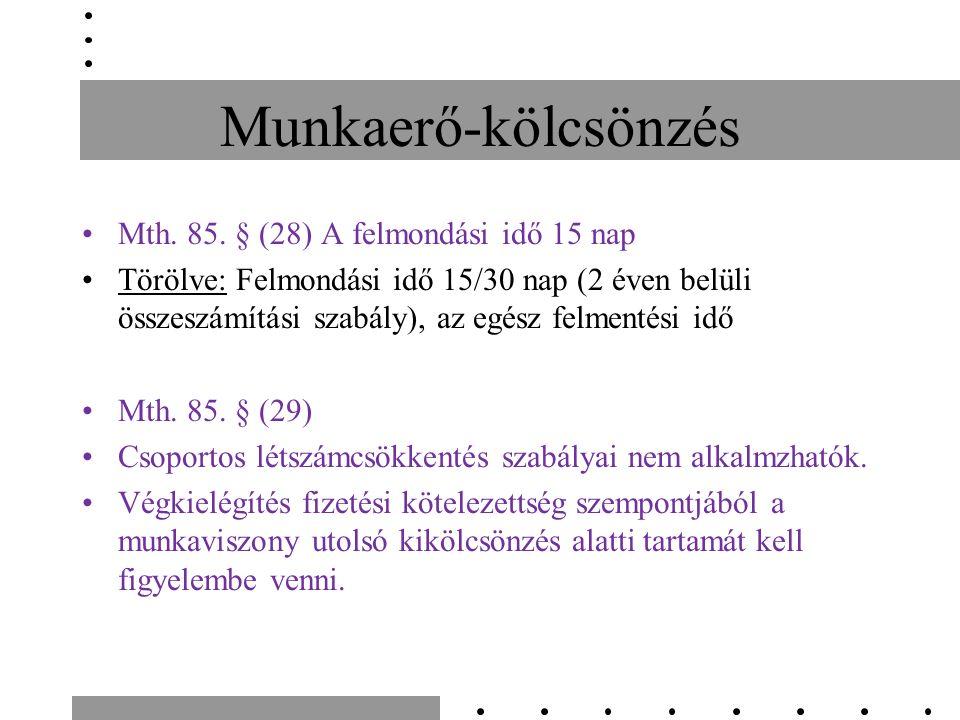 Munkaerő-kölcsönzés Mth. 85.