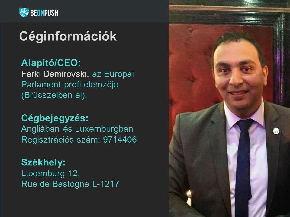 Alapító/CEO: Ferki Demirovski, az Európai Parlament profi elemzője (Brüsszelben él). Cégbejegyzés: Angliában és Luxemburgban Regisztrációs szám: 97144