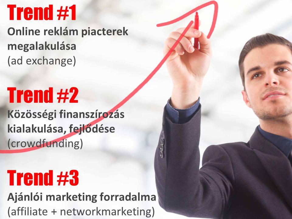 Trend #1 Online reklám piacterek megalakulása (ad exchange) Trend #2 Közösségi finanszírozás kialakulása, fejlődése (crowdfunding) Trend #3 Ajánlói marketing forradalma (affiliate + networkmarketing)