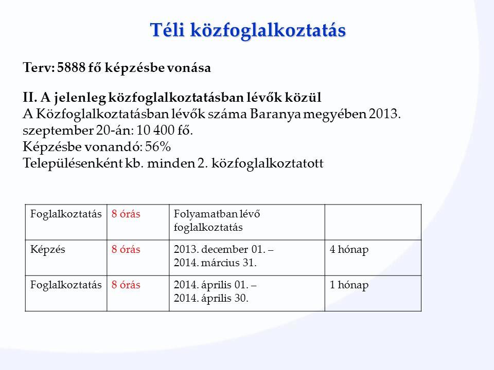 Téli közfoglalkoztatás Terv: 5888 fő képzésbe vonása II.