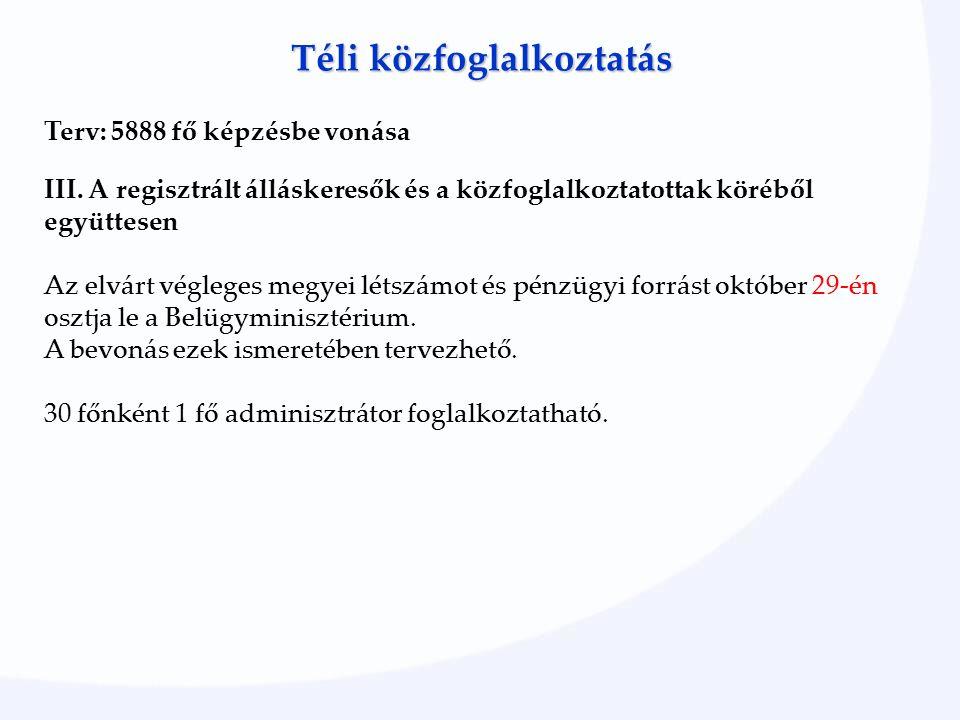 Téli közfoglalkoztatás Terv: 5888 fő képzésbe vonása III.