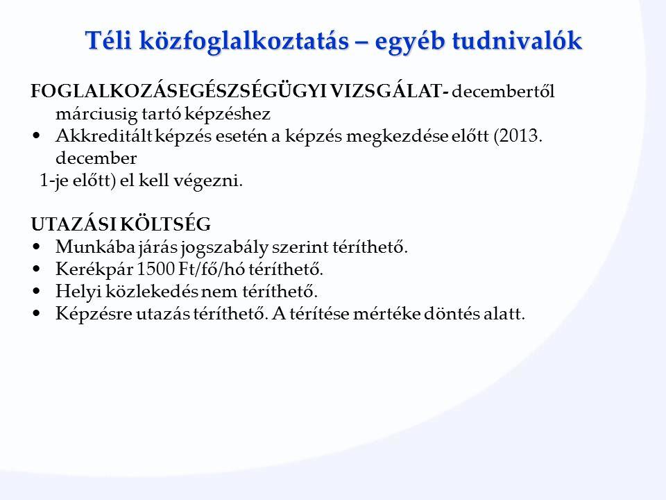Téli közfoglalkoztatás – egyéb tudnivalók FOGLALKOZÁSEGÉSZSÉGÜGYI VIZSGÁLAT- decembertől márciusig tartó képzéshez Akkreditált képzés esetén a képzés megkezdése előtt (2013.