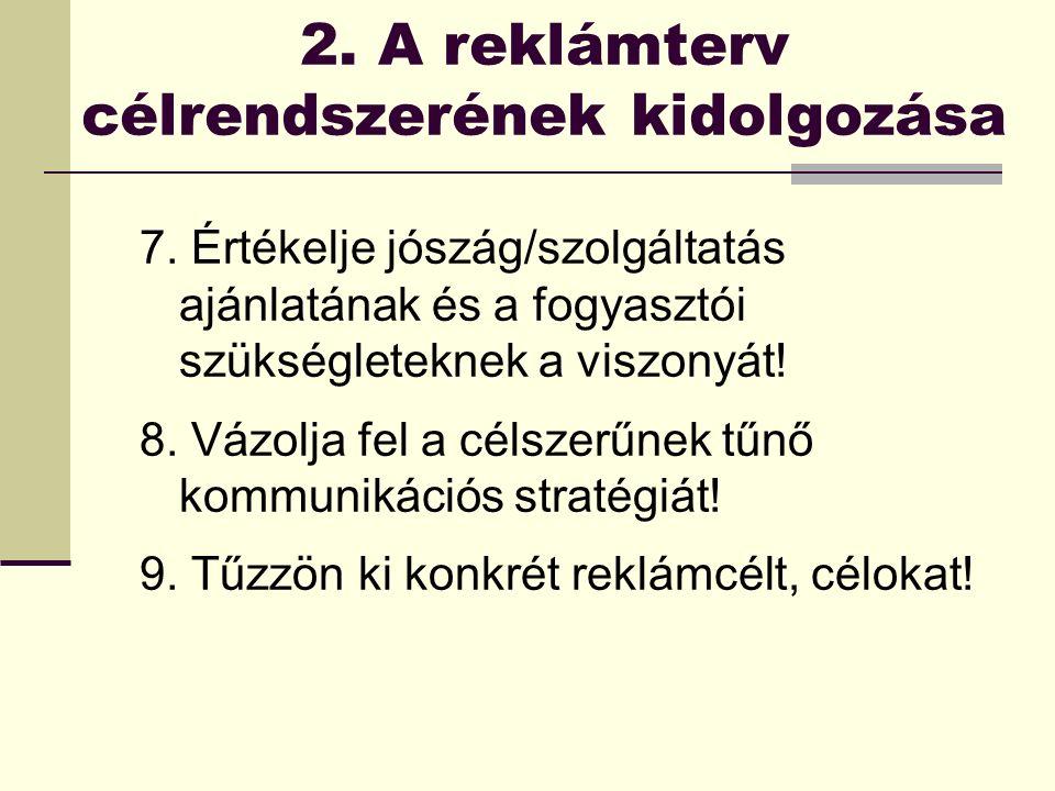 2. A reklámterv célrendszerének kidolgozása 7.