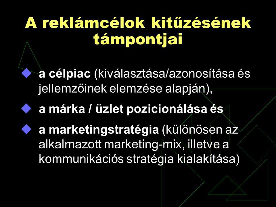 A reklámcélok kitűzésének támpontjai  a célpiac (kiválasztása/azonosítása és jellemzőinek elemzése alapján),  a márka / üzlet pozicionálása és  a marketingstratégia (különösen az alkalmazott marketing-mix, illetve a kommunikációs stratégia kialakítása)