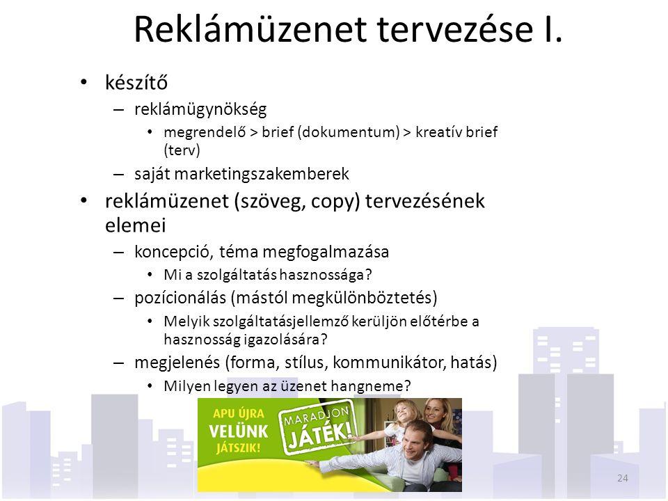 Reklámüzenet tervezése I. készítő – reklámügynökség megrendelő > brief (dokumentum) > kreatív brief (terv) – saját marketingszakemberek reklámüzenet (