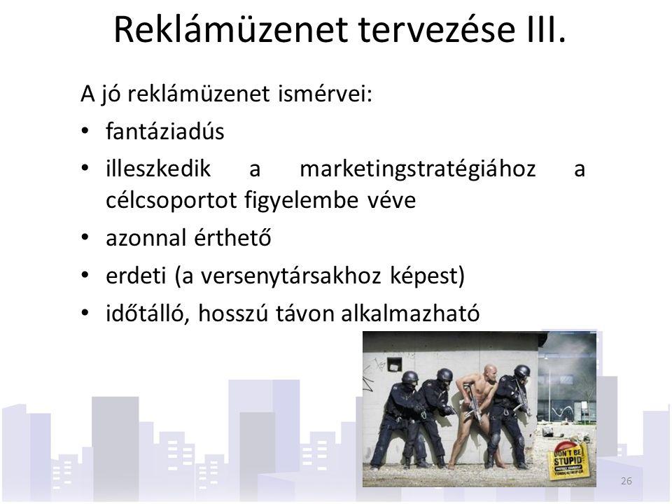 Reklámüzenet tervezése III.