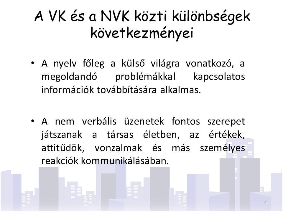A VK és a NVK közti különbségek következményei A nyelv főleg a külső világra vonatkozó, a megoldandó problémákkal kapcsolatos információk továbbításár