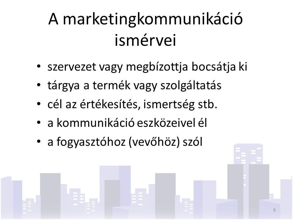 A marketingkommunikáció ismérvei szervezet vagy megbízottja bocsátja ki tárgya a termék vagy szolgáltatás cél az értékesítés, ismertség stb. a kommuni