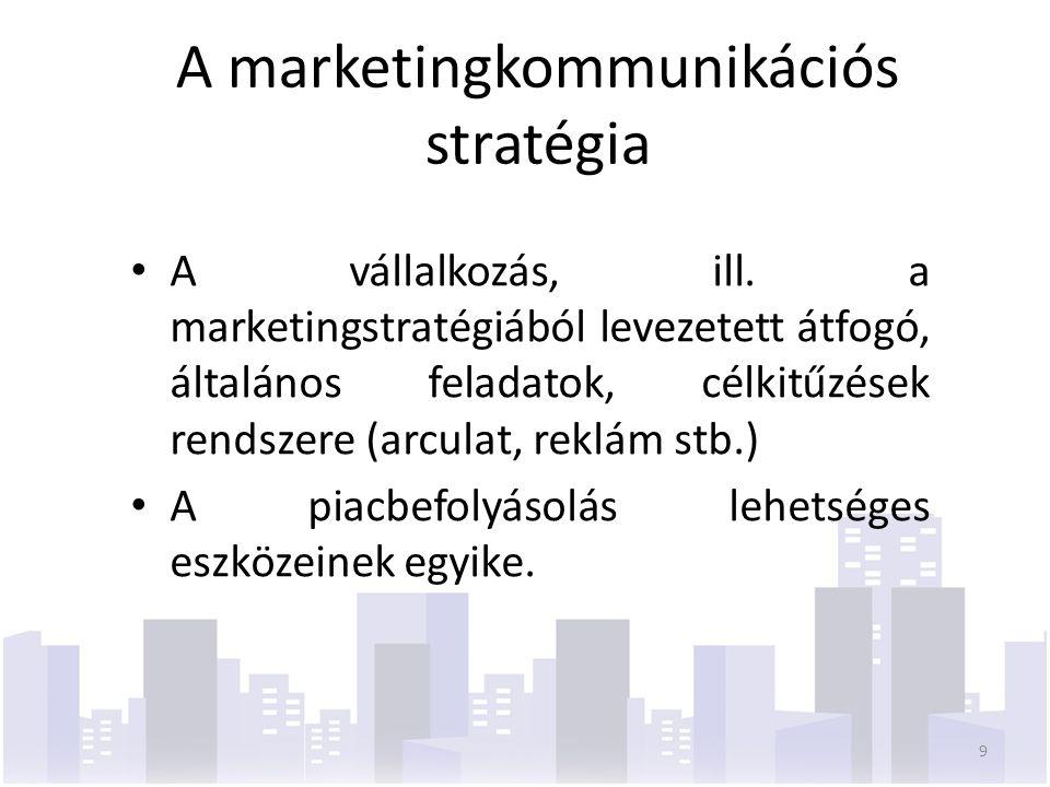 A marketingkommunikációs stratégia A vállalkozás, ill. a marketingstratégiából levezetett átfogó, általános feladatok, célkitűzések rendszere (arculat