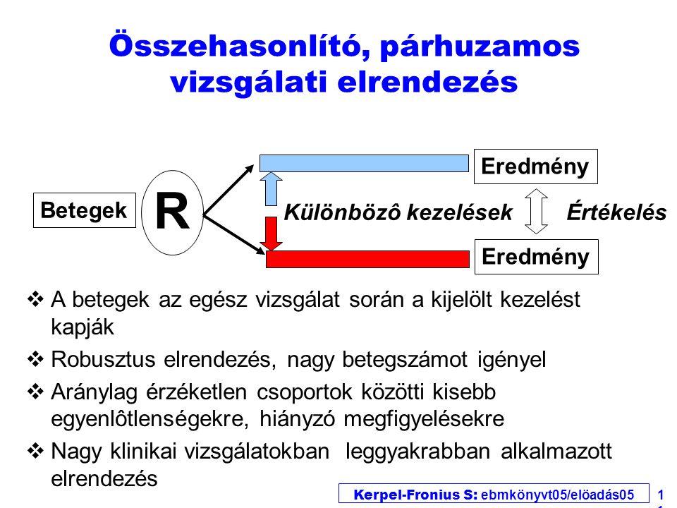 Kerpel-Fronius S: ebmkönyvt05/elöadás05 11 vA betegek az egész vizsgálat során a kijelölt kezelést kapják vRobusztus elrendezés, nagy betegszámot igén