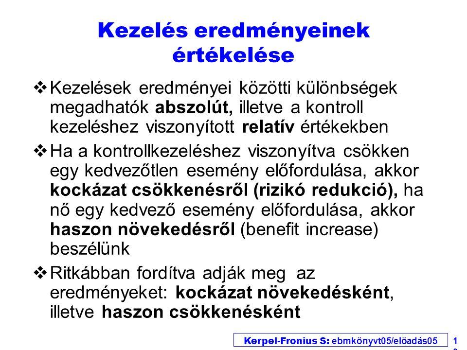Kerpel-Fronius S: ebmkönyvt05/elöadás05 13 Kezelés eredményeinek értékelése vKezelések eredményei közötti különbségek megadhatók abszolút, illetve a k