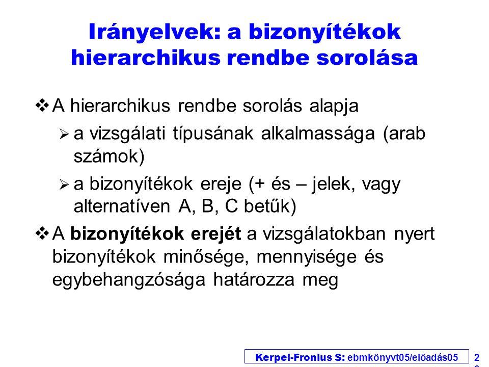 Kerpel-Fronius S: ebmkönyvt05/elöadás05 22 Irányelvek: a bizonyítékok hierarchikus rendbe sorolása vA hierarchikus rendbe sorolás alapja  a vizsgálat