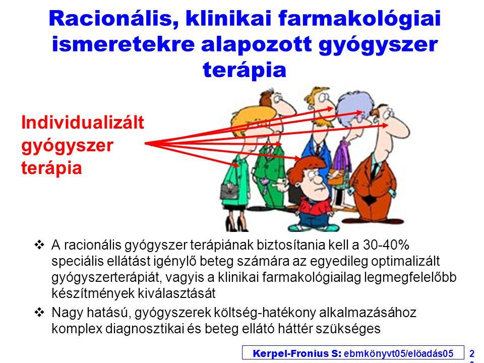 Kerpel-Fronius S: ebmkönyvt05/elöadás05 29 Racionális, klinikai farmakológiai ismeretekre alapozott gyógyszer terápia vA racionális gyógyszer terápiának biztosítania kell a 30-40% speciális ellátást igénylő beteg számára az egyedileg optimalizált gyógyszerterápiát, vagyis a klinikai farmakológiailag legmegfelelőbb készítmények kiválasztását vNagy hatású, gyógyszerek költség-hatékony alkalmazásához komplex diagnosztikai és beteg ellátó háttér szükséges Individualizált gyógyszer terápia