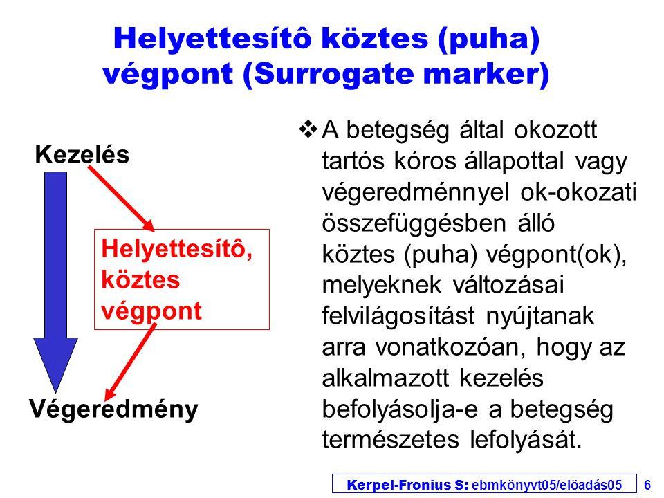 Kerpel-Fronius S: ebmkönyvt05/elöadás05 6 Helyettesítô köztes (puha) végpont (Surrogate marker) vA betegség által okozott tartós kóros állapottal vagy végeredménnyel ok-okozati összefüggésben álló köztes (puha) végpont(ok), melyeknek változásai felvilágosítást nyújtanak arra vonatkozóan, hogy az alkalmazott kezelés befolyásolja-e a betegség természetes lefolyását.