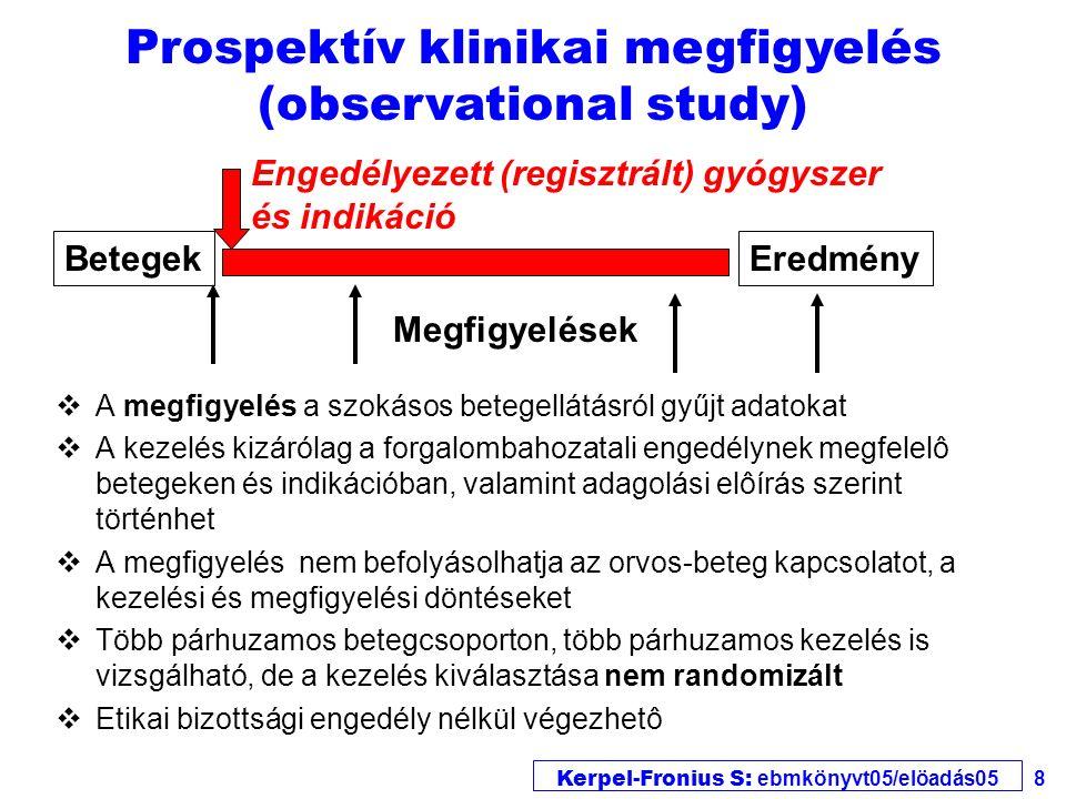 Kerpel-Fronius S: ebmkönyvt05/elöadás05 9 Prospektív, nem-összehasonlító klinikai kísérlet (trial) vA prospektív, nem-összehasonlító klinikai gyógyszer- vizsgálatok célja új gyógyszerek, kezelési eljárások tulajdonságainak leírása vA kezelés eltérhet a forgalombahozatali engedélynek megfelelô betegektôl és indikációktól, valamint adagolási elôírástól.